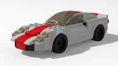 1966 Porsche 910 (Speed Champions Style) (Kevin_Michaels) Tags: 1966 porsche 910 racecar race car 6wide speed champions lego digital designer render red german germany gray minifig minifigure midengine prototype stripes ldd flat 6 f6 classic