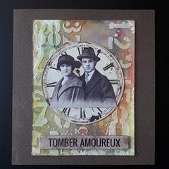 Amoureux (tonkinoise2012) Tags: distressoxide timholtz handmade amour couple pareja amor love mixedmedia texturepaste time temps vintage stencil pochoir carte carta card rétro