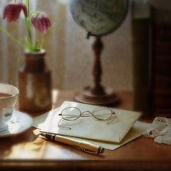 Still Life With a Letter, Old Spectacles & Fritillaria (vesna1962) Tags: stilllife tabletop letter fountainpen spectacles globe books old vintage fritillaria textured square