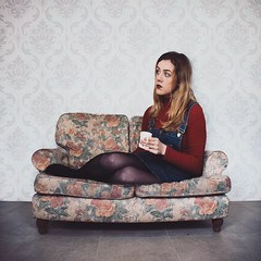 Sofa (laurawilliams▲) Tags: sofa giant girl tea coffee room surrealism surreal photography fine art abstract