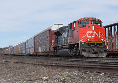 An Extra Autorack Train (Joseph Bishop) Tags: cn cndundassubdivision brantford 8887 emd sd70m2 trains train track tracks railfan railroad railway rail rails