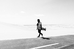 20170408 -desert_84 (Laurent_Imagery) Tags: skate skateboard skateboarding desert dunes road sky clouds weather noiretblanc blackandwhite blackwhite white light lightroom nikon d3 editorial magazine sector9 alone solo solitude sunglasses california statepark state north algodones glamis action lifestyle spring warm french frenchfashion frenchstyle