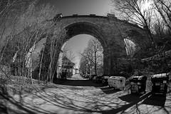 Viaduct in Hlubočepy, Prague - Samyang 8mm f2,8 UMC FISH EYE II (petrwag) Tags: samyang bw blackandwhite blancoynegro blackwhite černobílé czech clickcamera prague praha photographing wide fisheye