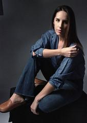 Tiffani Blue 6 (neohypofilms) Tags: portrait series blue bleu denim style fashion retro vintage jeans hair long shoes clogs mules slippers 70s 60s hippie color colour 35mm film slr nikon f studio model classic pinup