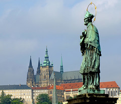 Charles Bridge plus castle (tubblesnap) Tags: bridge castle saint statue religious republic czech prague cathedral halo charles praha most karlov