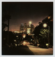 DTLA Nights (tobysx70) Tags: california ca street city autumn toby 2 color fall film night project polaroid sx70 for la office los october downtown day cityscape nocturnal skyscrapers angeles terrace towers tip cameras type instant week nights blocks sonar hancock figueroa dtla highrises impossible roid the 2014 roidweek impossibleproject tobyhancock impossaroid