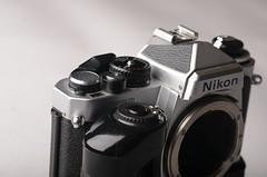 Nikon FE2 is being shy today (Philip Osborne Photography) Tags: nikon fe2 35mm camera silver batterygrip vintage