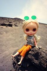 tatooine conquering her lava rock (girl enchanted) Tags: trip summer mountain lava adventure volcanic adgblythedoll krakatauvolcano krakatoaisland