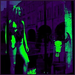 On a strange night ! (Pifou 2010 -) Tags: street light france art mannequin colors reflections skull lumire couleurs larochelle storewindow dummy rue vitrine crne 2014 pifou2010 grardbeaulieu onastrangenight