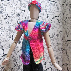 Neon Bright top for Wooden Mannequin (lyndell23) Tags: knitting knit handknit knitted handknitting artistmannequin artistsmannequin woodmannequin knittinginminiature