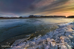 Ice lake in the twilight