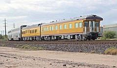 """Union Pacific business cars """"Stanford"""" and """"Sunset"""" trail Amtrak's eastbound """"Sunset Limited """" as it leaves Tucson, Arizona, on a cloudy July 10, 2014 (Ivan S. Abrams) Tags:"""