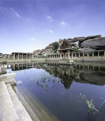 Pushkarani Hampi (seqar) Tags: india architecture hampi southindia krishnatemple pushkarani krishnadevaraya templetank ancientarchiteture