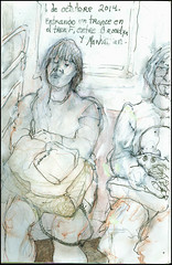Entrando un trance en el tren F, entre Brooklyn y Manhattan. 1 de octubre, 2014.  (Falling into a trance on the F train, between Brooklyn and Manhattan.) (Sharon Frost) Tags: brooklyn publictransportation paintings drawings passengers trances sketchbooks subways ftrain journals sharonfrost daybooks stillmanbirn