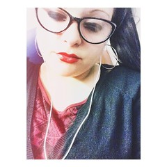 Going out for #drinks on a... (crys.doniz) Tags: red home me train glasses working drinks tired late redlipstick asleep uploaded:by=flickstagram instagram:photo=800835162527830937307516859
