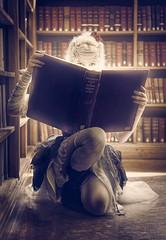 Neverending Story (Clinton lofthouse Photography) Tags: fiction photoshop model cosplay library magic manipulation books fantasy imagination retouching darkbeauty darkfairytale costumephotography