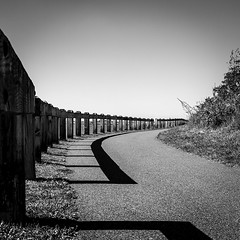 Fence Curve (mph1966) Tags: wood shadow sky blackandwhite bw canon fence iso100 gray 7d 365 24mm grayscale curve f8 24105 24105l project365 canon24105l canon24105 1400seconds canon7d