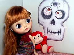 Blythe-a-Day October#6: Skeletons in the Closet: Abby is a Bit Afraid