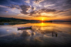 We need such peace (Nejdet Duzen) Tags: trip travel sunset color colour reflection turkey boat cloudy trkiye sandal gnbatm yansma turkei seyahat manisa bulutlu glmarmara