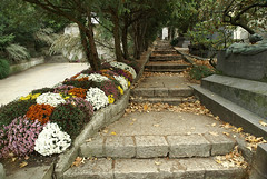 Flowered staircase (marko.erman) Tags: sculpture paris fall monument cemetery grave automne death missing chapel staircase memory leafs aux escalier chapelle feuilles tombe prelachaise morts cimetire mmoire