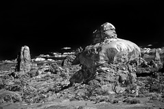 Arches (Steve Bahcall) Tags: bw nature landscape ir utah hiking infrared moab archesnationalpark 830nm converteddslr