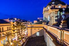 La Vega Larga (David vora) Tags: espaa azul ventana avenida calle arquitectura europa huelva catedral iglesia merced palmeras molino hora vega larga judios