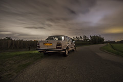 Backside at night (Rolfvandewal) Tags: old plants white cold green cars nature netherlands grass car night clouds last contrast landscape outside photography moving farm interior sony parking wide wideangle 1993 parked breda brabant lancia thema carpicture rijsbergen tokina1116 sonyalpha35
