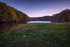 Kettle Town State Park - Connecticut (Simmo1342) Tags: statepark autumn trees sunset sky water river bench landscape rocks stream unitedstates stones fallcolors scenic fallfoliage southbury kettletownstateparkct cloudsnorthamerica