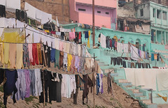 Infinite Colour (peterkelly) Tags: digital india asia canon 6d varanasi ghat ghats laundry clothes washing hanging drying blue pink
