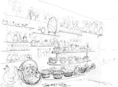 Oeufs, cloches, poules, .... et lapins à la patisserie Caillon Grégoire, à Melle (Croctoo) Tags: croctoo croquis croctoofr crayon patisserie chocolat chocolatier melle poitou poitoucharentes commerces paques pâques