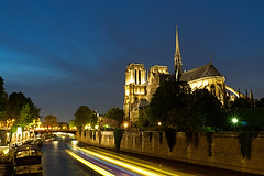 Notre Dame (Explore 17/04/17 #248) (Sarah Marston) Tags: paris notredame cathedral seine bridge sony a6300 april 2017 lights lighttrails