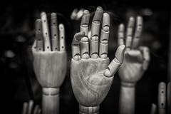 many hands... (Daz Smith) Tags: dazsmith fujixt20 fuji xt20 andwhite bath city streetphotography people candid canon portrait citylife thecity urban streets uk monochrome blancoynegro blackandwhite mono fingers hands articulated wood display window