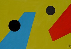 Binary Pawns  -  by Jan Theuninck, 2017 (Gray Moon Gallery) Tags: theuninck cubism postcubism blue black red yellow jantheuninck binarypawns binary pawns пешки pions peones thoughtparticles binaryweapons