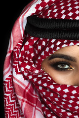 Red Rose (DesertWindsPhotography) Tags: red white black love makeup art photography greeneyes eyebrows culture tradition arabia saudiarabia qatar bahrain kuwait emirates desert eyes women veil عيون السعودية الكويت الإمارات الشماغ