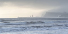 Distant Light (Kathy ~ FineArt-Landscapes) Tags: whitby sandsend water sea ocean waves mist light yorkshire pier