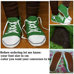 crochet_green_converses (eastfolk) Tags: crochet converse slippers custom house shoes adult leather sole felt green made order