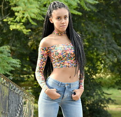 Confidence. (pstone646) Tags: beauty pretty portrait people youngwoman younglady outdoors jeans browneyes longhair