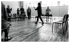 Rehearsal -6 (alh1) Tags: allanharris associatedirector centralmethodistchurchhall julietforster niksilverefexpro pilottheatre thesuffragetteproject yorktheatreroyal readthroughrehearsal eipyork 08042017 bw england northyorkshire york actors choice monochrome