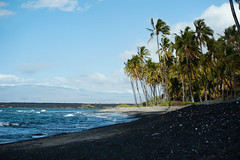 Paradise Calling (Geoff Sills) Tags: paradise calling black sand beach hawaii blue sky clouds palm trees mauna kea pacific tropical island telephoto landscape photography nikon d700 70200 vrii 28g geoffrey william sills geoff illumeon digital illumeondigital