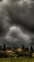 Le jour où j'ai appris à courir ! (Fred&rique) Tags: lumixfz1000 photoshop raw hdr paysage orage doubs village pluie nuages ciel église