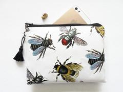 Waterproof pouch with Bee print. (Jigglemawiggle) Tags: waterproofpouch bumblebee beespecies jigglemawiggle etsy folksy handmade selkirk scotland girlfriendgift beewallet sba