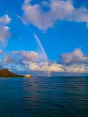 Diamond Head Rainbow (yourusacityguide.com) Tags: diamondhead hawaii oahu waikikibeach beach sea ocean rainbow blue hooneymoon paradise