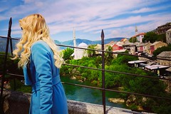 Blonde in blue on bridge.  #mostar #bosniaandherzegovina #bosnian #blondehair #blonde #blõndeshavemorefun #bridge #travel #traveller #travelogue #travelgram #streetphotography #streetstyle #streetview #street #streetlife #streetfashion #x70 #photography # (PM Kelly) Tags: instagramapp square squareformat iphoneography uploaded:by=instagram mayfair