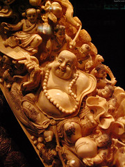 "Budai (Hotai Laughing Buddha) carved into tusk • <a style=""font-size:0.8em;"" href=""http://www.flickr.com/photos/34843984@N07/14926493983/"" target=""_blank"">View on Flickr</a>"