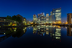 Twilight At The Basin (www.paulshearsphotography.com) Tags: city urban reflection night buildings reflections dawn lights iso200 twilight cityscape flats canarywharf 16mm f8 statestreet hsbc citigroup hdr offices barclays citi 0325 25seconds nauticaltwilight blackwallbasin paulshears 32bithdr paulshearsphotography wwwpaulshearsphotographycom 2014paulshears