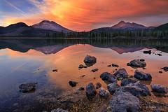 A Red Sunset (Wind Walk) Tags: sunset lake reflection broken oregon bend sister top south sparks