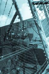 Technical stuff (glukorizon) Tags: sky cloud reflection monochrome metal fence steel nederland delft pump setup lucht barbwire prikkeldraad metaal hek wolk zuidholland pomp reflectie selenium spiegeling hff staal monochroom tuwijk schutting wippolder opstelling fencedfriday grillefence tudistrict gaashek