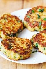 Spaghetti Squash, Quinoa and Parmesan Fritters (JuliasAlbum.com) Tags: breakfast vegetarian quinoa snacks spaghettisquash fritters glutenfree