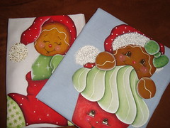 Pintura em tecido - Pano de copa natalino. (Casa de Bonecas Atelier) Tags: natal ginger artesanato tintas trabalhosmanuais pinceis pinturaemtecido panodecopa pinturanatalina