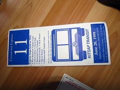 Kitsap Transit 1999 Route 11 Schedule (zargoman) Tags: bus paper 11 1999 transit bremerton schedule kitsaptransit crosstownexpress